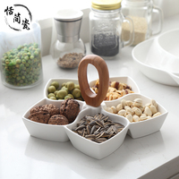 Ceramic dried fruit plate modern minimalist snacks melon seeds nuts dish living room home flower style snack white candy box
