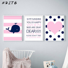 NDITB Baby Nursery Wall Art Canvas Poster Quotes Prints Pink Heart Whale Cartoon Painting Picture Nordic Kids Bedroom Decoration
