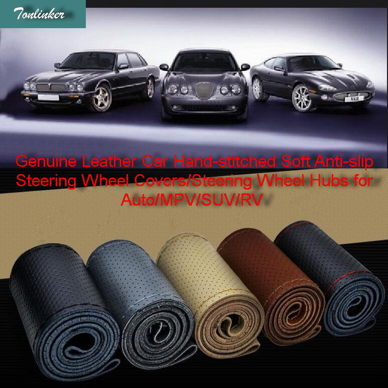 Tonlinker 1 Pcs 38cm DIY Genuine Leather Car Hand-stitched Soft Anti-slip Steering Wheel Covers Hubs for Auto/MPV/SUV/RV