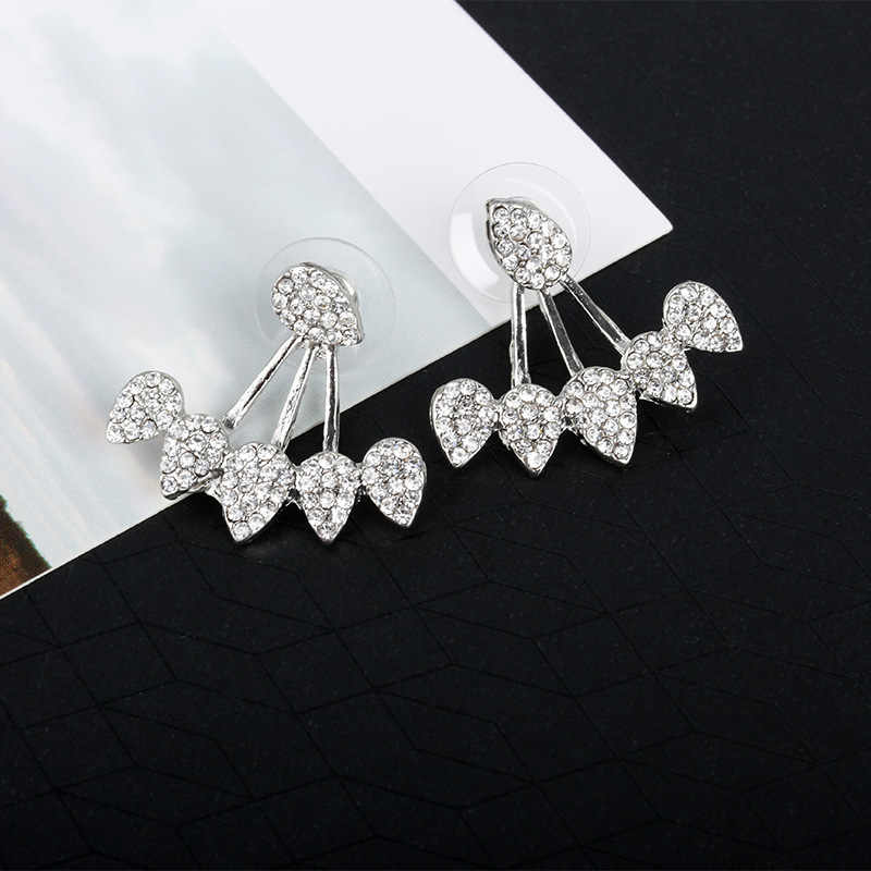 New fashion Drop Crystals Stud Earring for Women gold color Double Sided Fashion Jewelry Earrings female Ear brincos Pending