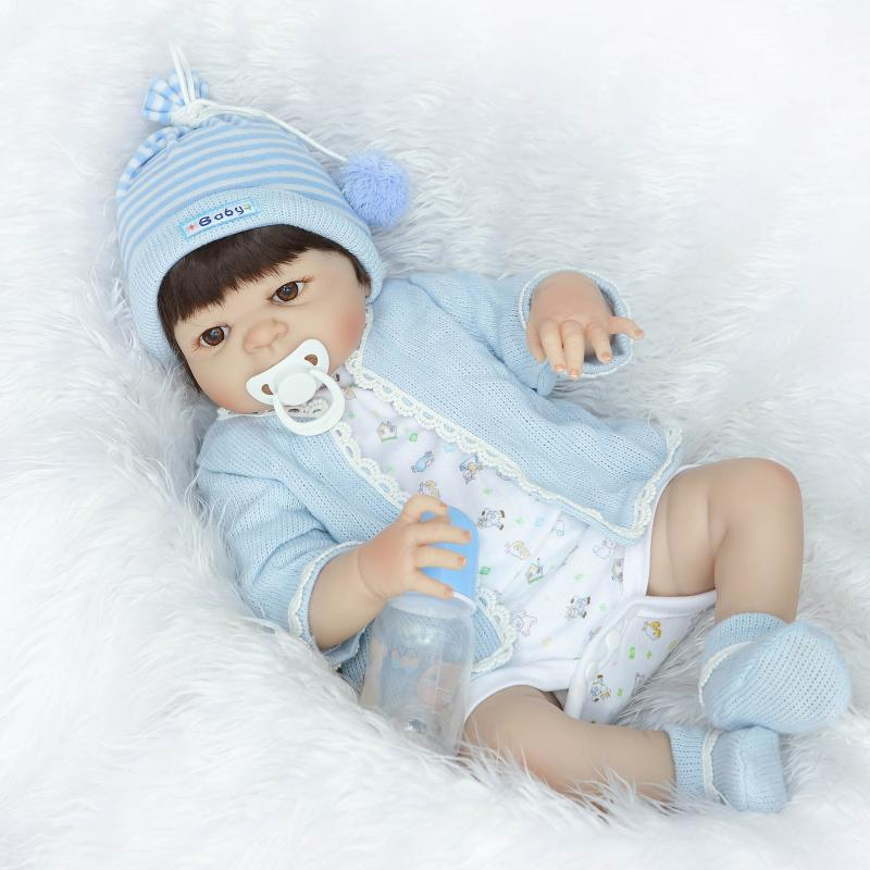 57cm Full Silicone Reborn Baby Doll  Newborn Babies Boy Doll Lifelike Birthday Gifts Present Girls Brinquedos Bedtime Play House soft silicone reborn baby dolls toys for girls lifelike birthday present gifts cute newborn boy babies bedtime play house toy