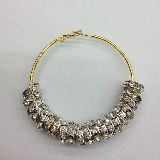 wholesale!Free Shipping!Basketball Wives Earring Poparazzi 8mm Glass Crystal Rhinestone Stone Beads 45mm Hoop Earring