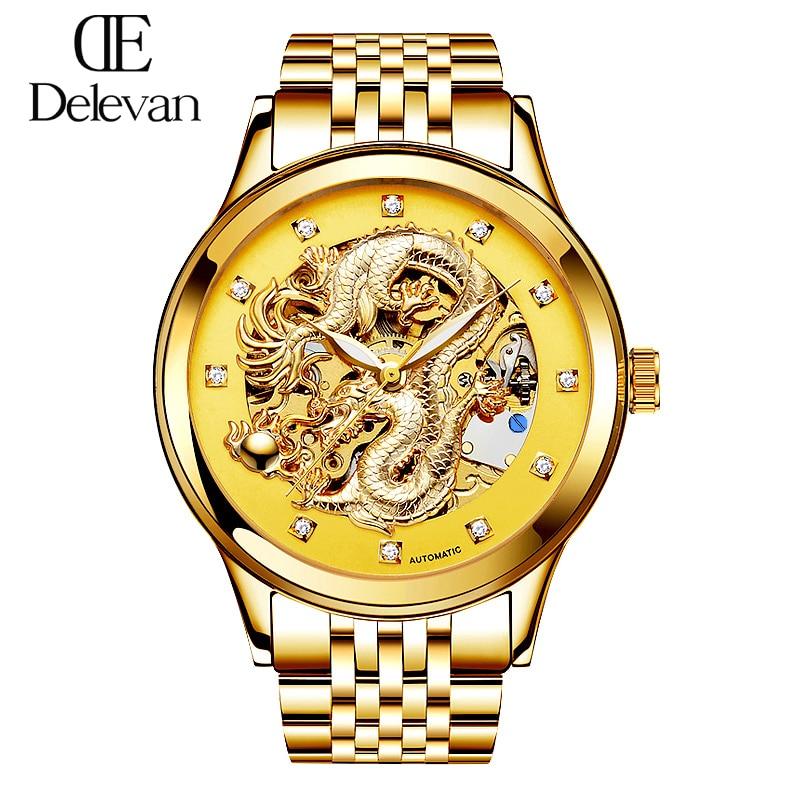 Suiza Ron oro de lujo automático relojes moda esqueleto hombres reloj mecánico reloj de acero lleno Relogio masculino 1188