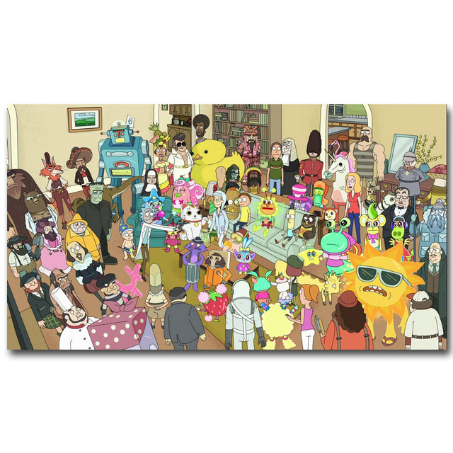 Rick and Morty Anime Art Silk Fabric Poster Print 13×24 20x36nch Cartoon Picture for Living Room Wall Decoration Gift 035