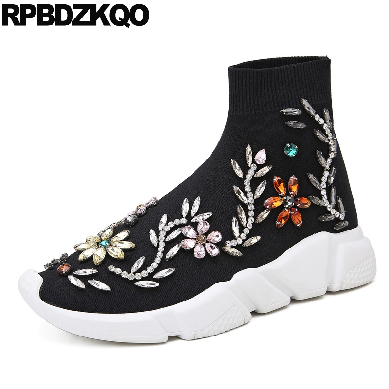 Stretch Casual Black Booties Designer Shoes Women Luxury 2017 Fall Slip On Muffin Ankle Rhinestone Boots Sneakers Flat Platform slip on winter boots stretch lycra