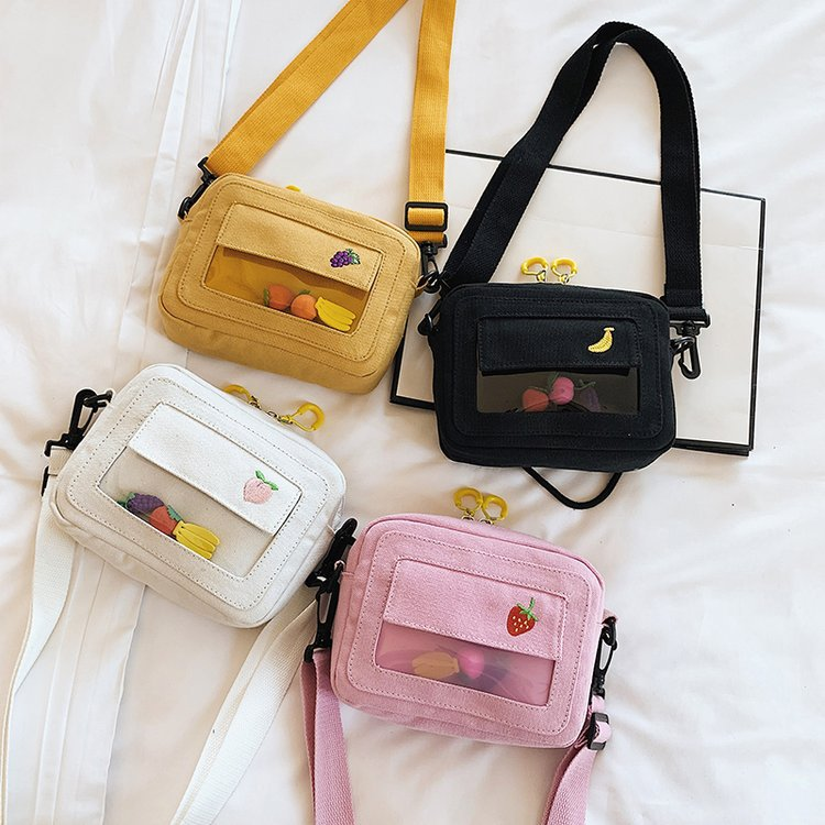 Bags For Women 2019 Fashion Brand New Messenger Bags Fruits Embroidery Canvas Handbags Female Transparent Casual Shoulder Bags
