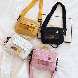 Sacos para as mulheres 2019 marca de moda nova mensageiro sacos frutas bordado bolsas lona feminina transparente ocasional sacos ombro