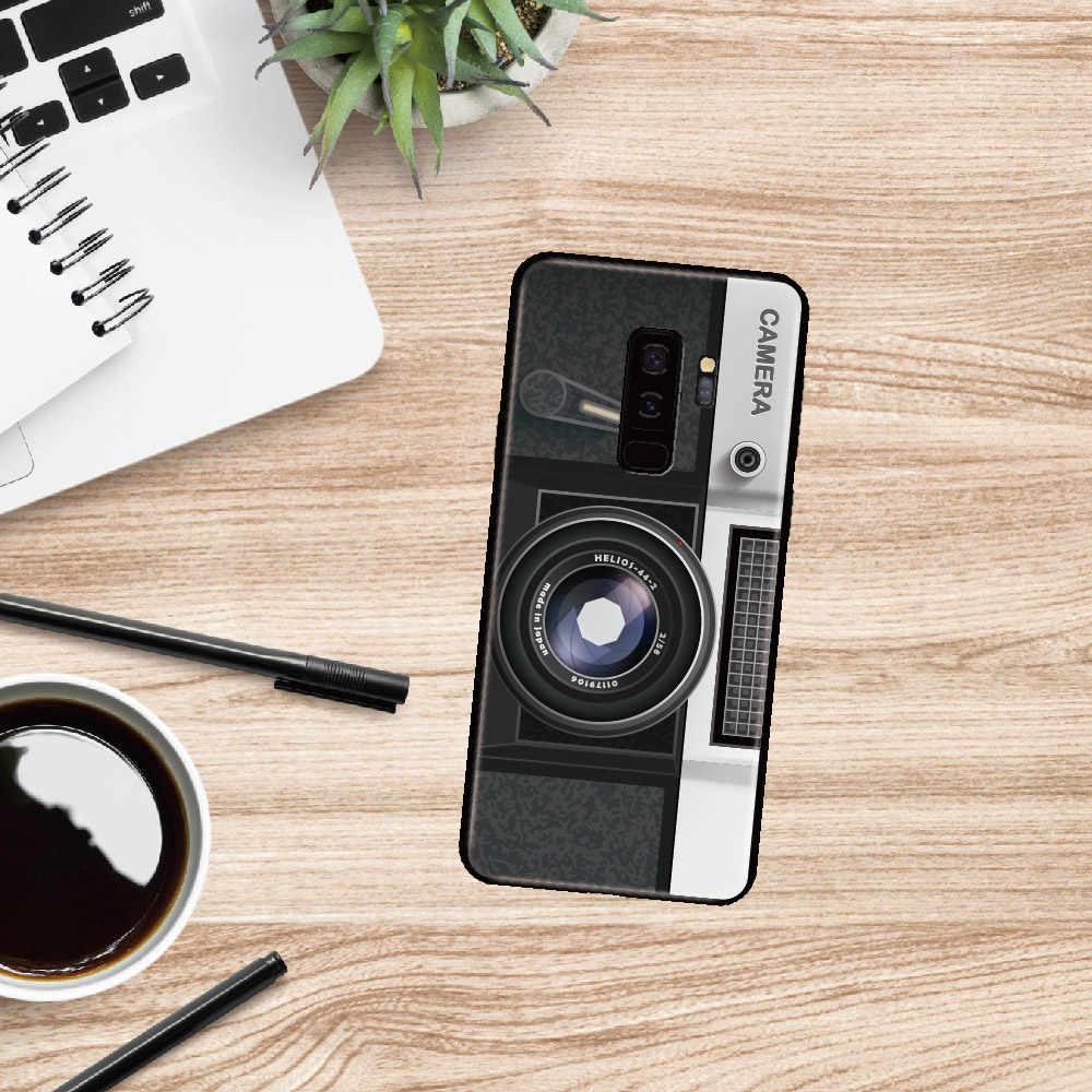 لسامسونج غالاكسي S8 S9 S10 S10e زائد E لايت نوت 8 9 10 A7 A8 ريترو خمر كاميرا كاسيت الموسيقى لينة الوفير جراب هاتف