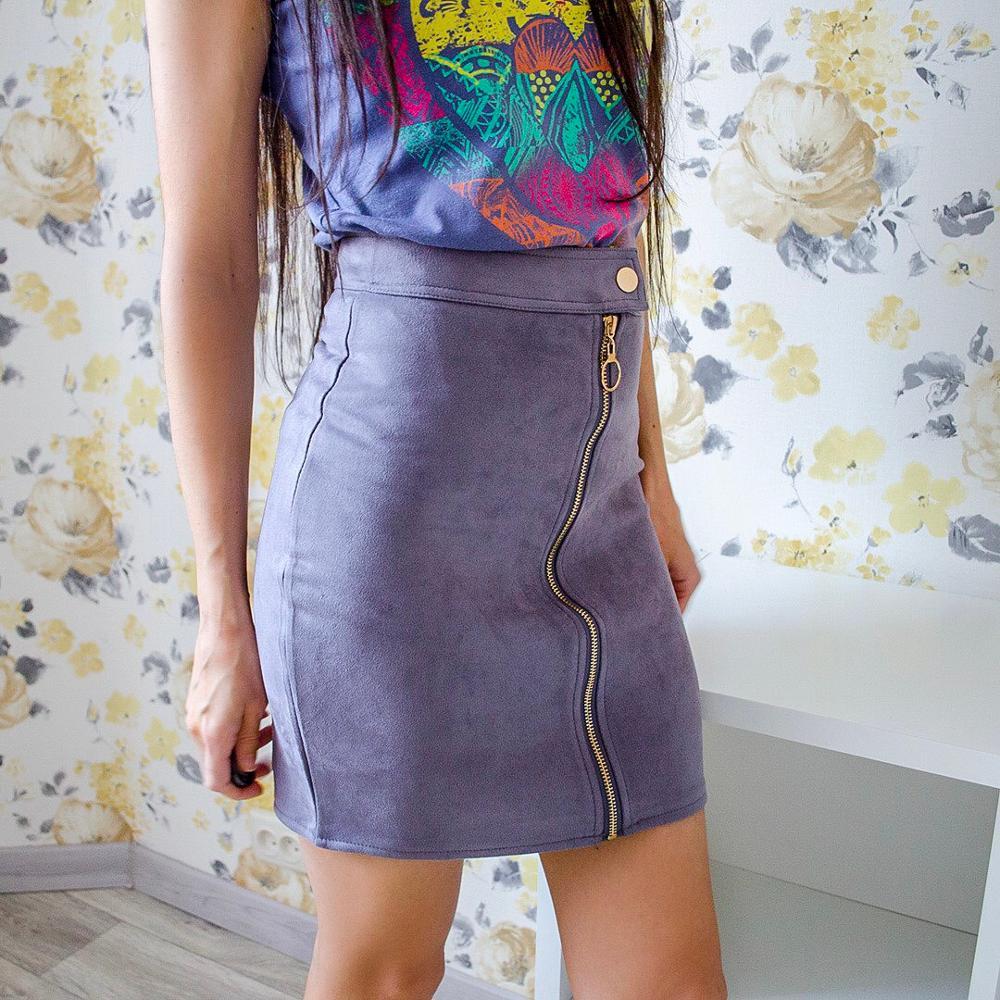 Neophil Women A-Line Mini Suede Pencil Skirt XXL 2020 Summer Zipper Ladies Office Short Skirt Fashion Style Slim Tutu Saia S1911