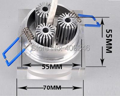 10 шт./лот 3x1 Вт вел круглый потолочный светильник Подпушка, акриловые светодиодный потолочный светильник с трансформатором встраиваемые ...