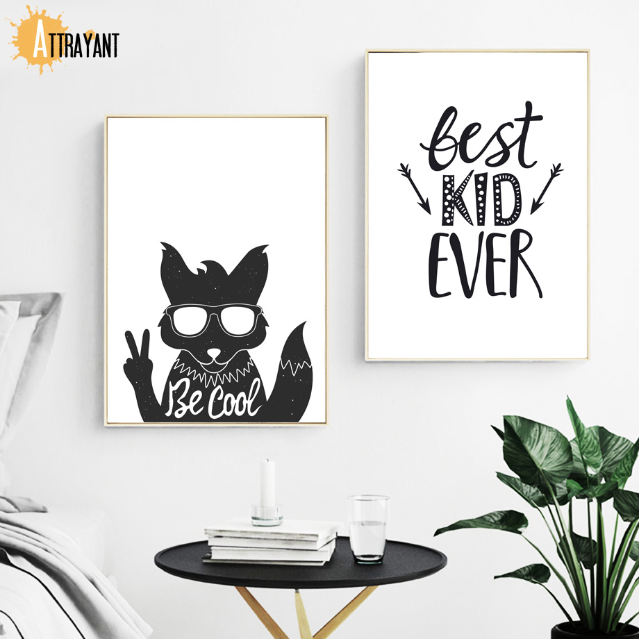 Be Cool Fox Bear Quotes Nordic Poster And Prints Black And White Wall Art Canvas Painting Wall Pictures For Kids Room Home Decor in Painting Calligraphy from Home Garden