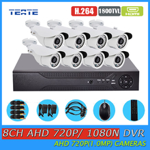 TEATE Security 8CH Full 1080N DVR with 1800TVL 720P Outside Safety surveillance Digital camera Package HD AHD eight channel 1MP CCTV System
