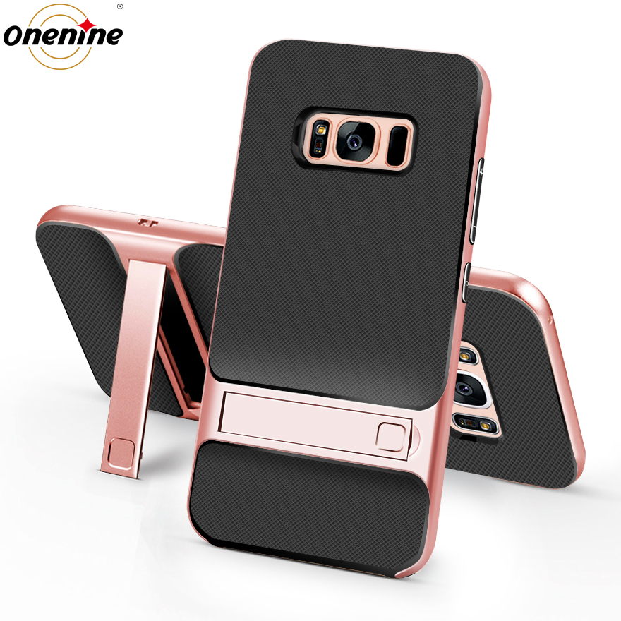 3D Kickstand Πολυτελείς θήκες τηλεφώνου για Samsung Galaxy S8 / S8 Plus πίσω κάλυμμα TPU PC Silicone Bag SamsungS8 SamsungS8Plus Armor Shell