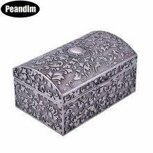 PEANDIM Mini Size Elegant Vintage Metal Jewelry Box Storage Organizer Pewter Plated Small Jewelry Case For Valentine's Day Gift