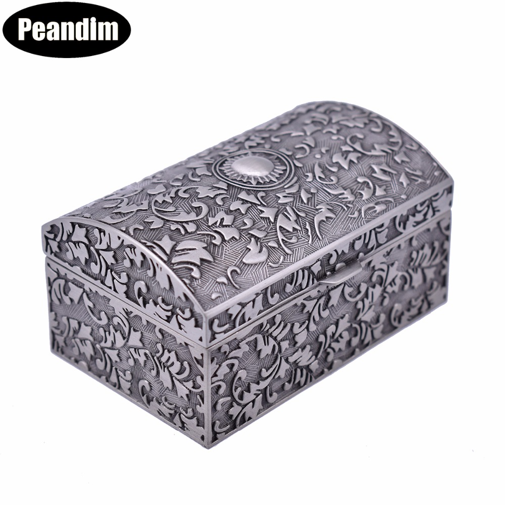 PEANDIM Mini Size Elegant Vintage Metal Jewelry Box Storage Organizer Pewter Plated Small Jewelry Case For Valentines Day Gift