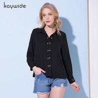 Kaywide 2018 Spring Women Elegant Pearls Buttons Shirt Long Sleeve Turn Down Collar Blouse OL Work