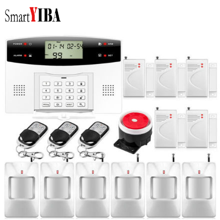 SmartYIBA 99 Wireless 7 Wired Zone Home Security GSM Burglar Alarm System Door Window PIR Motion Sensor French Spanish Italian safurance lcd wireless gsm home burglar alarm system motion door window sensor home security safety