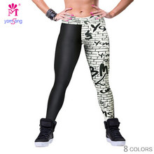 Yomsong 2016 Fashion Black White Leggings for Woment Letters Digital Printing Hight Waist Fitness Pants Fashion Leggings 186