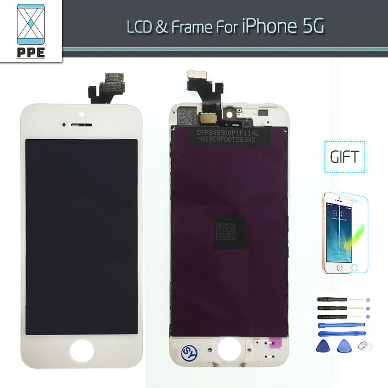 LCD Display For Iphone 5 5g LCD Display Assembly with Touch Screen Glass Pantalla Complete Replacement black white color+Tools
