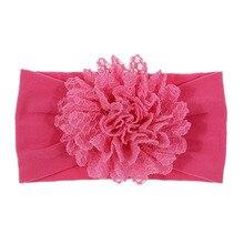 цены Nylon Elastic Headband Baby Girls Lace Flower Hairband for Children Fashion Party Headwear Accessory