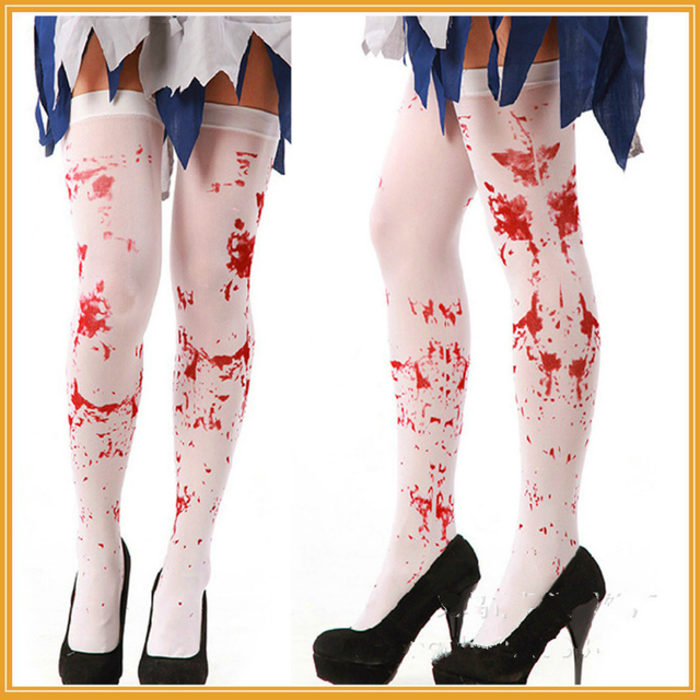 630a632d2dcbd Halloween Girls Knee High Socks Blood Printed Stockings Over The Knee Thigh  High Socks Sexy