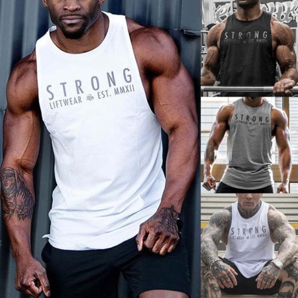 Men Sleeveless Bodybuilding Shirt   Tank     Top   Tee Singlet Fitness Sport Vest