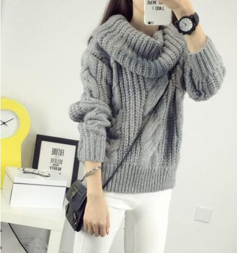 e7ce35ec4 Korea Ladies Winter Sweaters and Pullovers Turtleneck Oversized Sweaters  Women Solid Loose Thick Warm Knitted Sweater Pull Femme-in Pullovers from  Women s ...