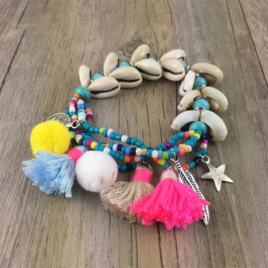New Handcraft friendship bracelets tassel charm bracelets bangle sea beach shell seed Beaded Bohemia Bracelets for women bracelets
