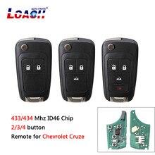 2/3/4Buttons 433Mhz id 46 chip Folding Remote Car key For Chevrolet Cruze Malibu Aveo Spark Sail orlando Key