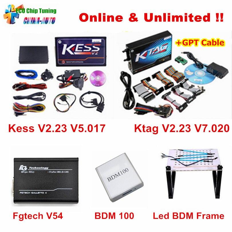 Интернет версия KESS V5.017 V2.23 + KTAG V7.020 V2.23 + FGTECH Galletto V54 + bdm100 + светодио дный BDM кадр K тег FG Tech ЭБУ чип тюнинг