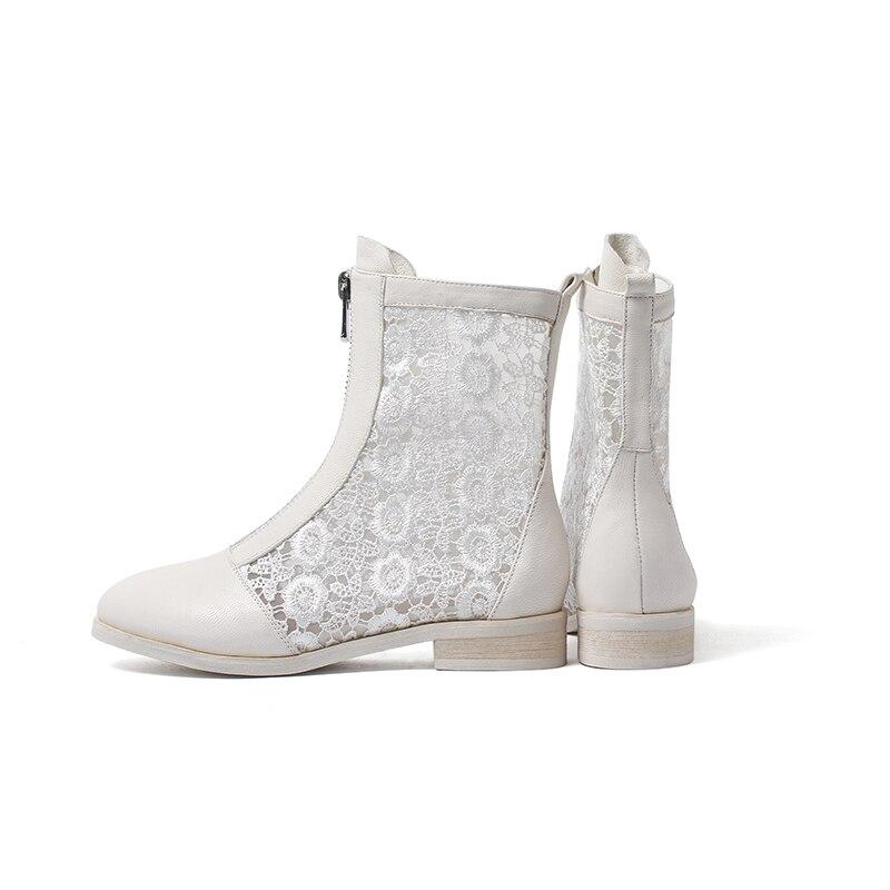 2019 Femme Mode Bout Printemps Bottes Noir Bas Véritable Blanc Dentelle Femmes vin Isnom Zip blanc Cuir Rond Chaussures Rouge En Bottines Talons waF4Bq6p