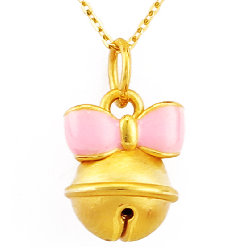 1pcs Pure 999 24K Yellow Gold Pendant Pink Small bell Pendant 0.99g1pcs Pure 999 24K Yellow Gold Pendant Pink Small bell Pendant 0.99g