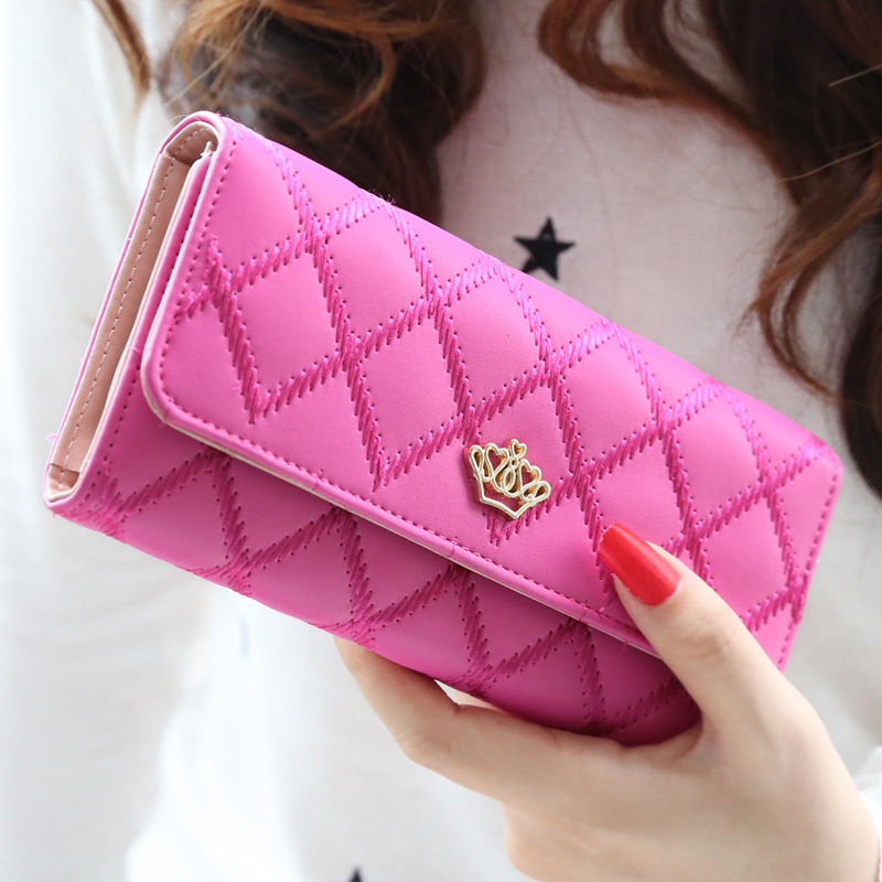 New 2015 casual high-capacity  women wallets Lingge metal crown lady long day clutch wallet  high quality  purse for women fuzzy metal clutch wallet