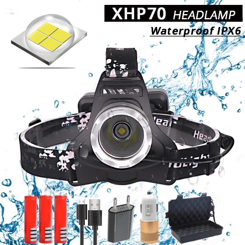 40000lm Xhp70 Faro Led Potente Lámpara De Cabeza De Carga Usb Linterna De Cabeza Linterna 3*18650 Batería De Caza Luces De Camping