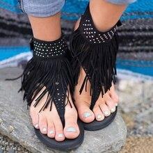 2017 Новое поступление женские богемные Sandalias без каблука Sandalias кисточки Повседневная Летняя обувь PA914985