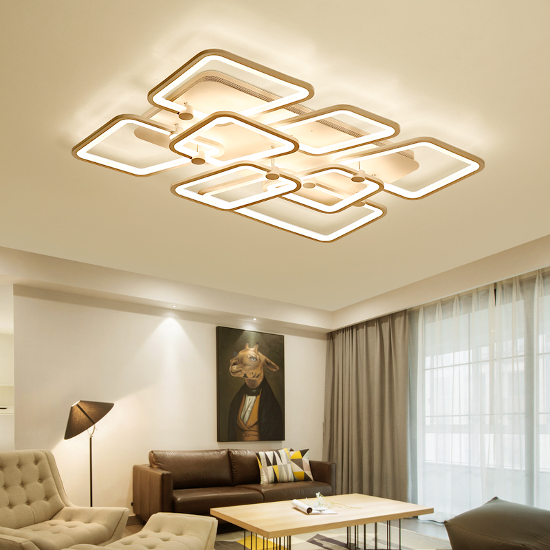 Modern LED ceiling lights for living room dining room bedroom Rectangle remote control luxury acrylic ceiling lamp fixture