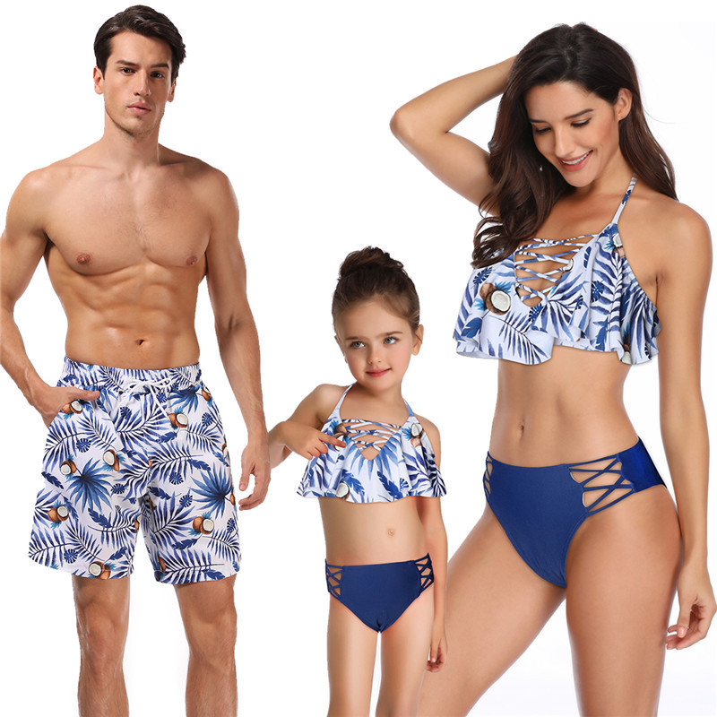Summer time Household Matching Outfits Swimwear Mom Daughter Children Swimsuit Bikini Bathing Swimsuit Father Son Shorts Swimwear Garments Matching Household Outfits, Low-cost Matching Household Outfits, Summer time Household Matching...
