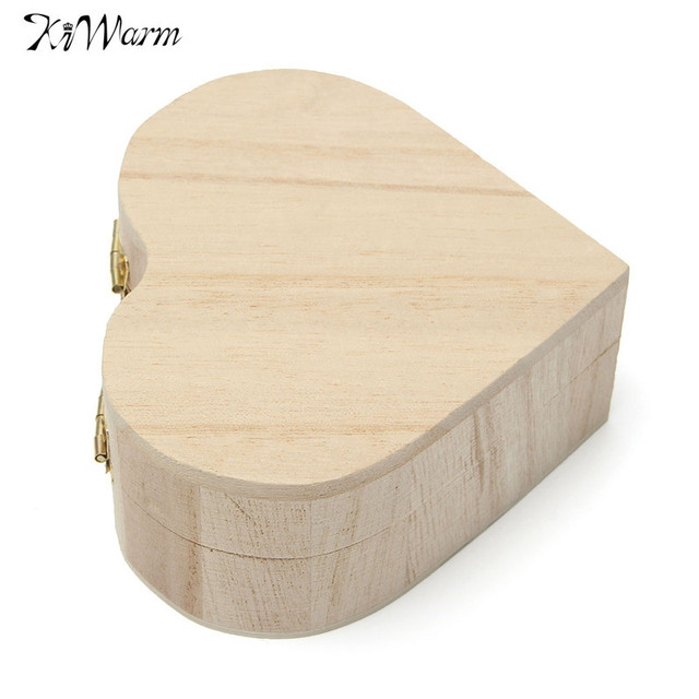 Cute Multifunction Wood Jewelry Box Love Heart Shape Case Storage