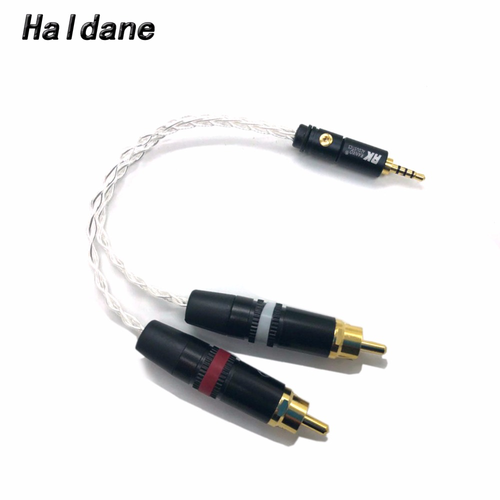Free Shipping Haldane 2.5mm TRRS/4.4mm Balanced Male To 2 RCA Male Audio Adapter Cable 7N OCC Copper Silver Plated Audio Cable