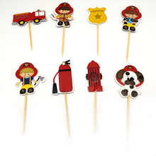 24pcs/lot Birthday Party Decorate Cartoon fireman Theme Cupcake Toppers with Sticks Baby Shower Boys Kids Favors Cake Topper
