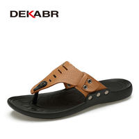 DEKABR Brand Casual Men Sandals Slippers Summer Fashion Beach Men Casual Shoes Genuine Leather Flip Flops
