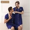 Qianxiu conjunto de pijama de algodón para hombres de moda botón desgaste casual en el hogar más el tamaño salón cardigan desgaste pantalones de pijamas ropa de noche 1635
