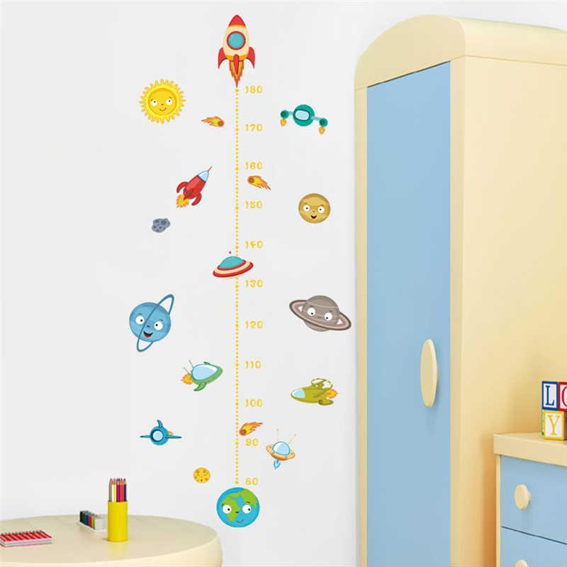 Karikatür uzay gemisi uzay aracı yükseklik ölçüsü duvar çıkartmaları çocuk odaları ev dekor pvc büyüme grafik duvar çıkartmaları diy duvar sanatı