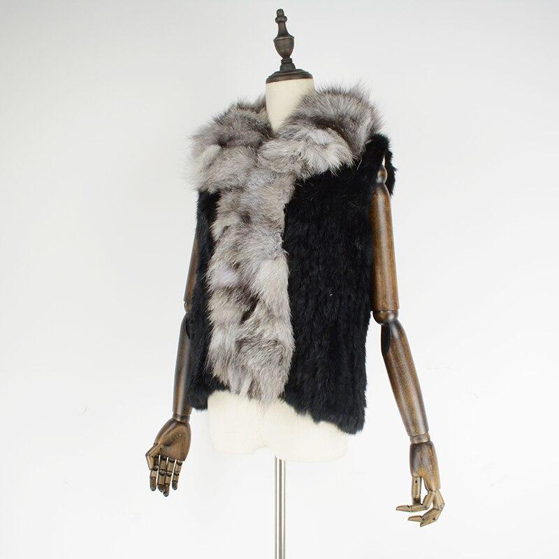 Fox Main De Black Gilet Lapin Naturelle À Col Rf0022 Avec Outwear Fourrure Tricoté Femmes La Lq5cA3R4j