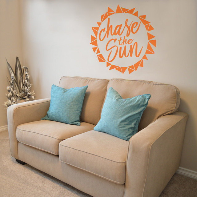 Summer Wall Decal Beach Life Quotes Chase The Sun Vinyl Wall Stickers Home  Interior Headboard Art