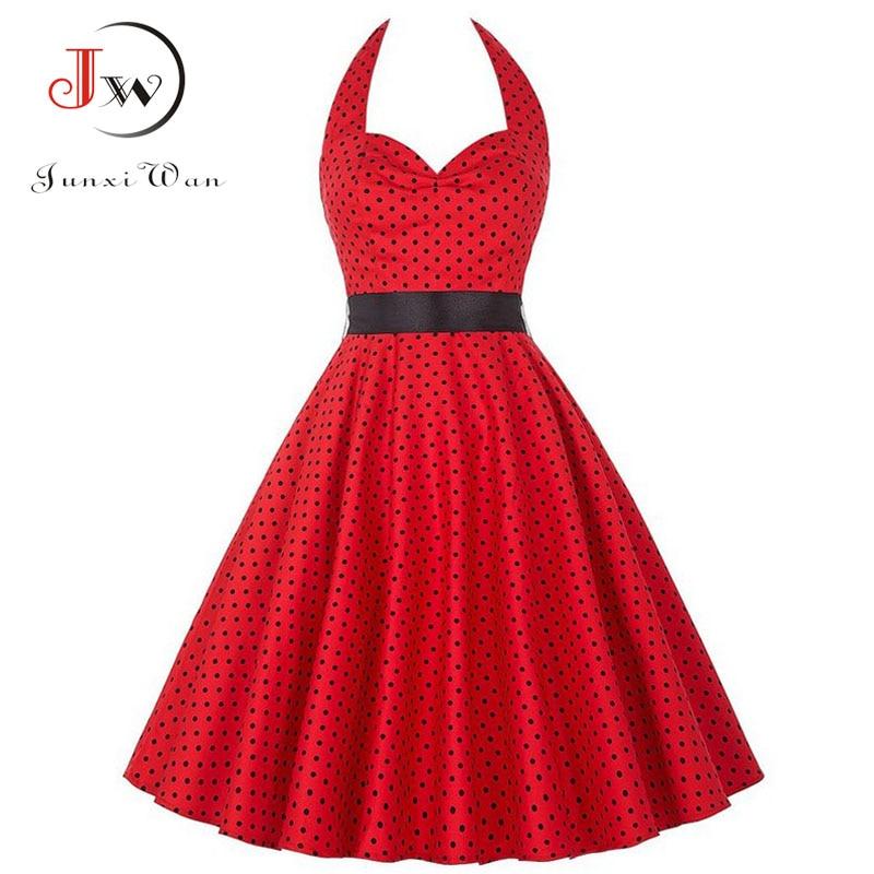Women Summer Polka Dot Vintage Dress Fashion Party Office Lady 50s 60s Rockabilly Big Swing Halter Clothes Tunic Vestidos