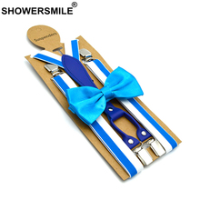 SHOWERSMILE Men Braces Suspender Blue Striped Mens Suspenders Fashion Women Shirt and Bowtie Designer Suspensorio