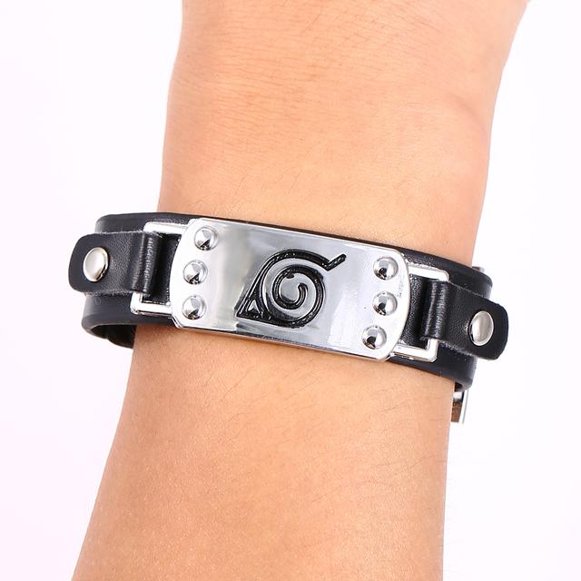 Hot Anime Naruto Silver Alloy Leather Bracelet