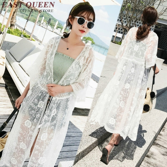 19807134f8e0f US $24.75 45% OFF|2018 fashion summer long cardigan white lace cardigan  flare sleeve mesh cardigan beach tunic free size NN0680 YQ-in Blouses &  Shirts ...