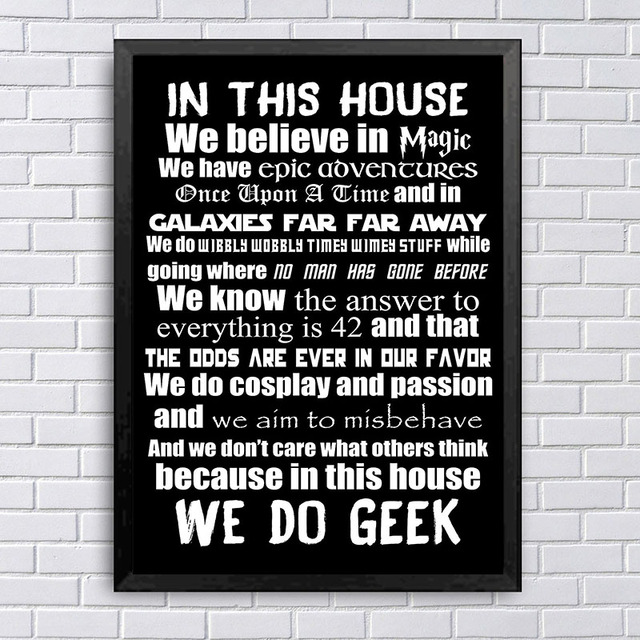 Motivational Quotes Poster In This House We Do Geek Wall Art Canvas